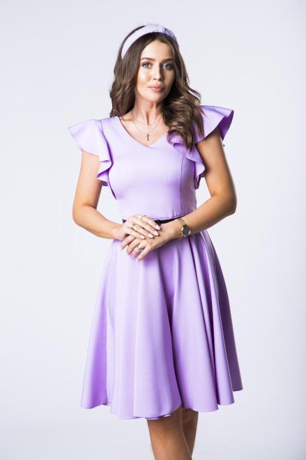 DARTEX  koktajlowa sukienka z paskiem i falbaniastymi rękawami M73258 Платье Фиолетовый оптом