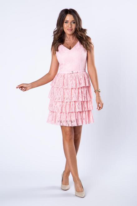 BICOTONE  koronkowa sukienka z falbaniastym dołem  M80144 Платье Розовый оптом