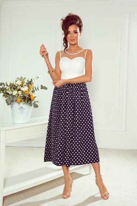 MARI MARI  koktajlowa sukienka midi z plisowanym dołem i tiulową wstawką na dekolcie M80246 Платье Темносиний оптом