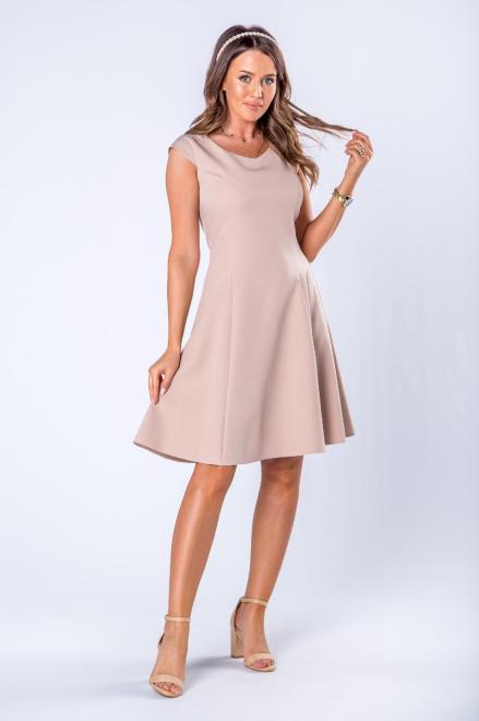 DARTEX  rozkloszowana sukienka z dekoltem w serek i krótkim rękawem M75068 Платье Бежевый оптом