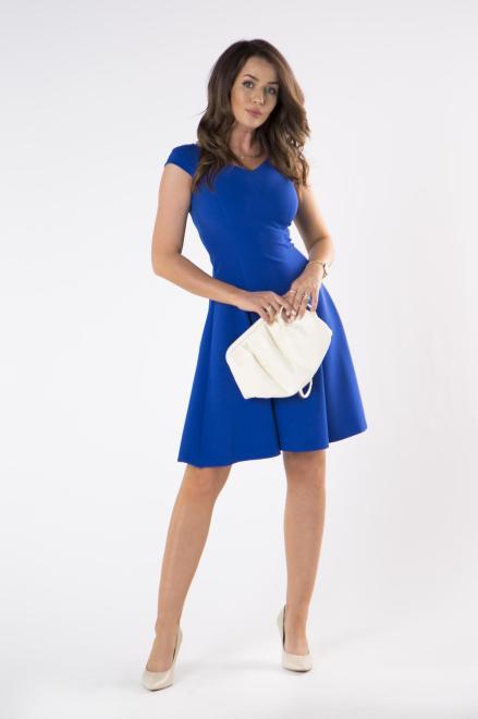 DARTEX  rozkloszowana sukienka z dekoltem w serek i krótkim rękawem M75068 Платье Голубой оптом