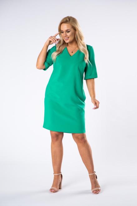 BRENDA  trapezowa sukienka z dekoltem w serek M79794 Платье Зеленый оптом