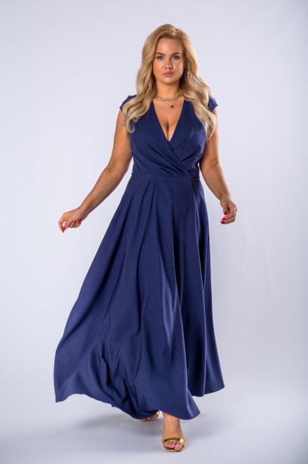 EXCLUSIVE  elegancka sukienka maxi z kopertowym dekoltem M79568 Платье Темносиний оптом