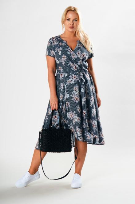 POKER  koktajlowa sukienka z wiązaniem w pasie i krótkim rękawem M79166 Платье Multikolor оптом