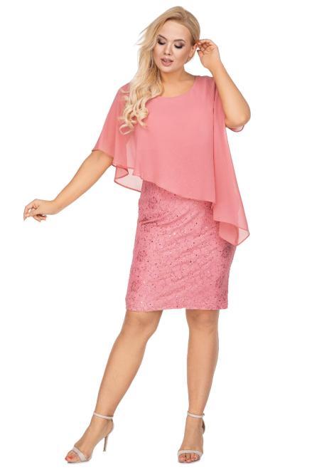 JOTES  dopasowana sukienka z asymetryczną narzutką i błyszczącym wykończeniem M71058 Платье Розовый оптом