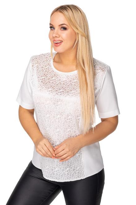 elegancka bluzka z gipiurową wstawką M77589 Блузка Кремовый оптом