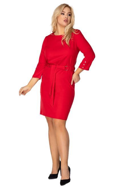 POKER  ołówkowa sukienka z wiązaniem w pasie M75231 Платье Красный оптом