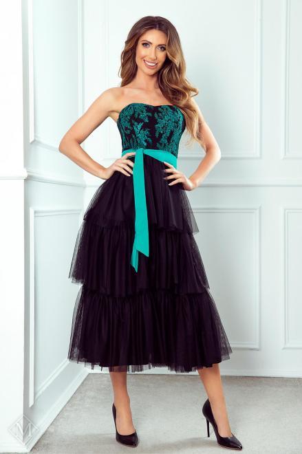 MARI MARI  tiulowa sukienka z falbanami, gorsetową górą i wiązaniem w pasie M75917 Платье Черный оптом
