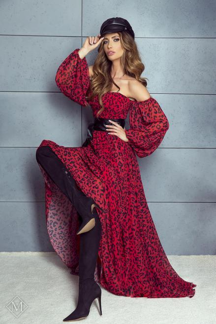 MARI MARI  sukienka maxi z gorsetową górą, bufiastymi rękawami i wiązaniem w pasie M75908 Платье Красный оптом