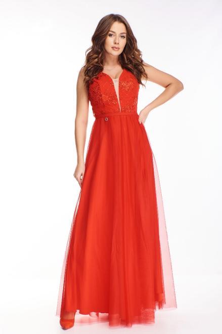 BICOTONE  wieczorowa sukienka maxi z haftowaną górą z cekinami i gorsetowym wiązaniem na plecach M73605 Платье Красный оптом