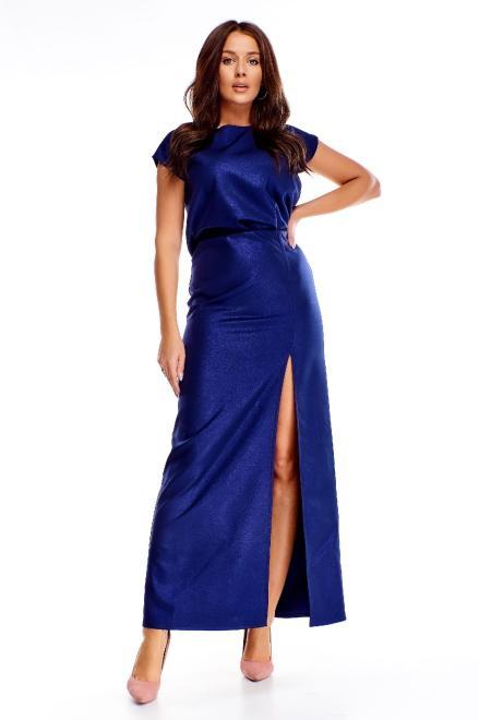 POKER  sukienka maxi o prostym kroju z rozcięciami na plecach M73594 Платье Темносиний оптом
