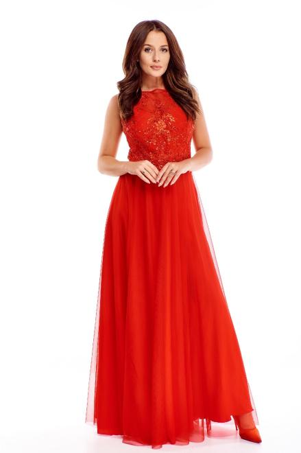 BICOTONE  tiulowa sukienka maxi z haftowaną górą M72728 Платье Красный оптом