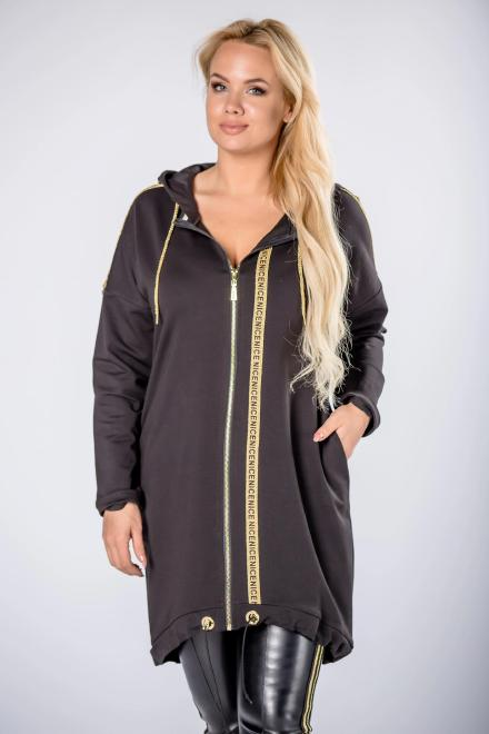 MADAM TRIS  dłuższa bluza z kapturem i brokatowymi lampasami M81825 Блуза Черный оптом