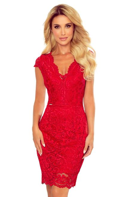 koronkowa sukienka z krótkim rękawem i dekoltem w serek M80786 Платье Красный оптом