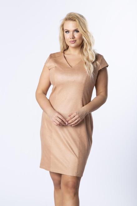 KOKORO  dopasowana sukienka z ekoskóry z ozdobnym ekspresem z tyłu M80060 Платье Бежевый оптом