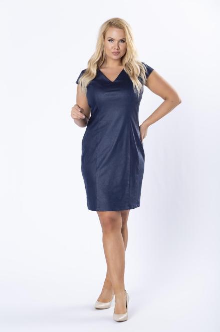 KOKORO  dopasowana sukienka z ekoskóry z ozdobnym ekspresem z tyłu M80060 Платье Темносиний оптом