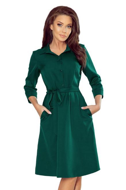 sukienka szmizjerka z wiązaniem w pasie M74770 Платье Зеленый оптом