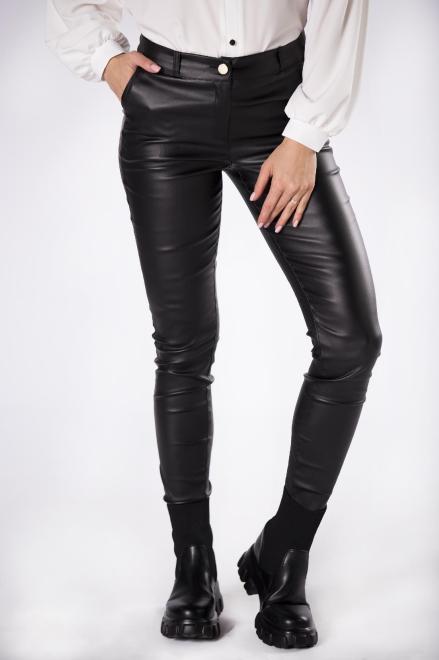 LENA  woskowane spodnie o dopasowanym kroju M82256 Брюки Черный оптом