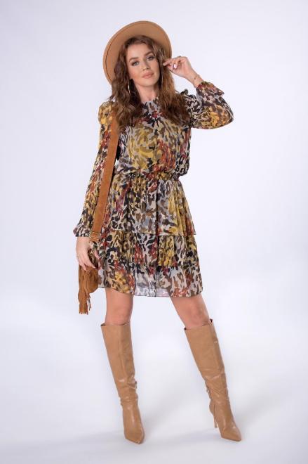 STELLA VERA  tiulowa sukienka mini z falbankami, bufiastymi rękawami i gumką w pasie M82028 Платье Multikolor оптом