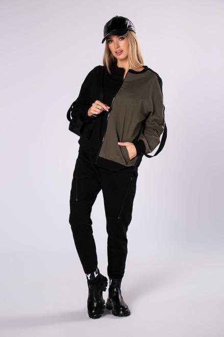 LA VIE  bawełniany dres z dwukolorową bluzą M82192 Трикотажные брюки Черный оптом