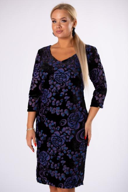 TRYNITE  welurowa sukienka o dopasowanym kroju M82204 Платье Черный оптом