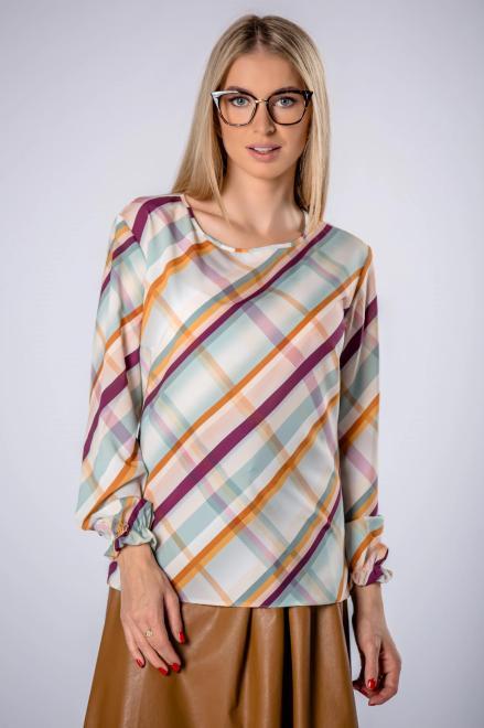 BODOO  wzorzysta bluzka z długim rękawem M71007 Блузка Multikolor оптом