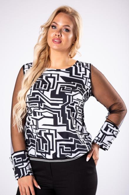 M&M  wzorzysta bluzka z tiulowymi rękawami M81375 Блузка Черный оптом