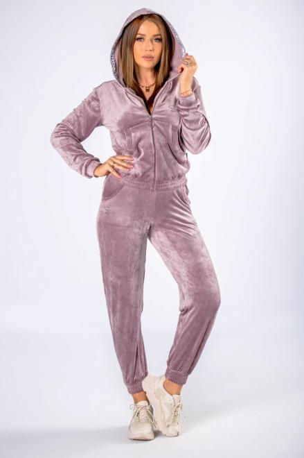 STELLA VERA  welurowy dres z lampasami przy kapturze M81224 Трикотажные брюки Фиолетовый оптом