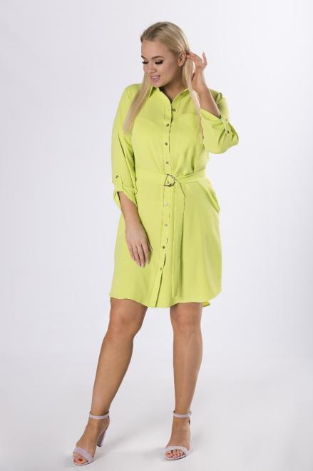MARCELLO  koszulowa sukienka szmizjerka z wiązaniem w pasie M82092 Платье Зеленый оптом