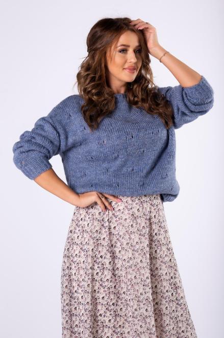 HOLI  sweter z ozdobnymi przeszyciami z przodu M82239 Свитер Голубой оптом