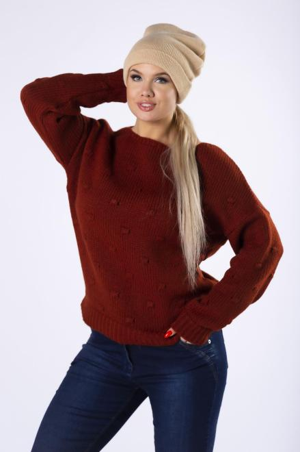 TRYNITE  sweter z ozdobnymi przeszyciami z przodu M82239 Свитер Оранжевый оптом