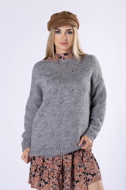 MARI MARI  sweter z ozdobnymi przeszyciami z przodu M82239 Свитер Серый оптом