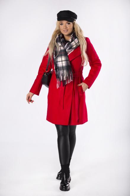 LA TOYA  szlafrokowy płaszcz z wiązaniem w pasie M74108 Плащ Красный оптом