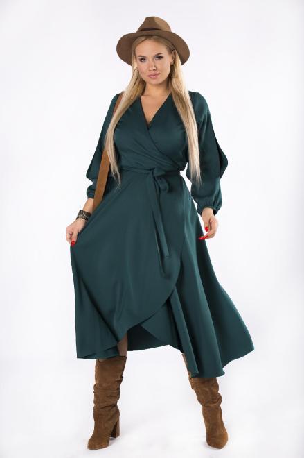 POKER  sukienka maxi o kopertowym kroju z wiązaniem w pasie i rozcięciami na rękawach M73587 Платье Зеленый оптом