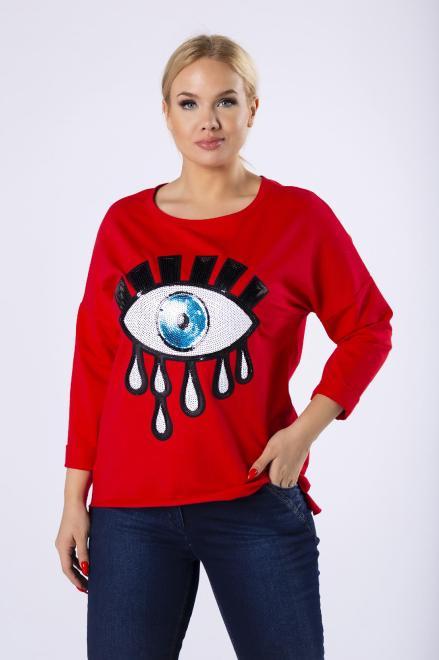 ELITE  dzianinowa bluzka o nietoperzowym kroju M82083 Блузка Красный оптом