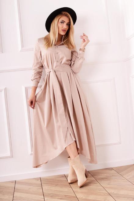 M&M  koszulowa sukienka szmizjerka z wiązaniem w pasie i wydłużonymi bokami M82369 Платье Бежевый оптом