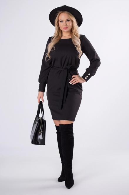 LENA  elegancka sukienka z wiązaniem w pasie M81185 Платье Черный оптом