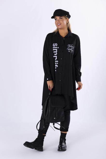 LA VIE  trapezowa koszula z nadrukiem na biuście M82313 Рубашка Черный оптом