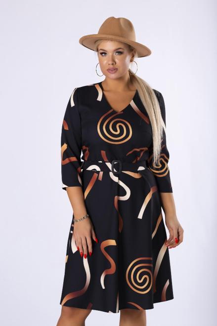MODA DOROTHY  rozkloszowana sukienka w graficznym print z paskiem i dekoltem w serek M82337 Платье Черный оптом