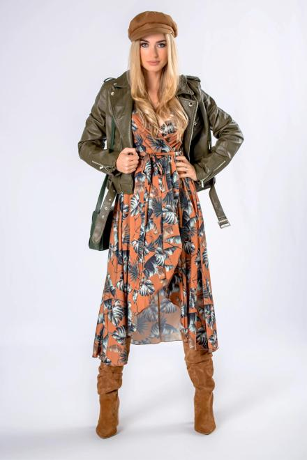 MARI MARI  kopertowa sukienka midi z wiązaniem w pasie i asymetrycznym dołem M82378 Платье Коричневый оптом