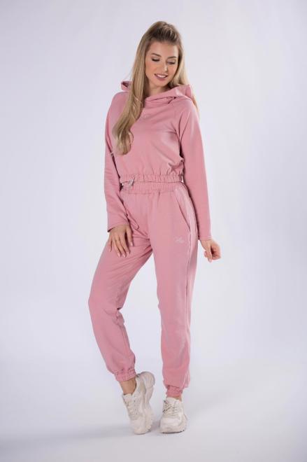 FLUO  bawełniany dres z bluzą typu crop top ze ściągaczem na dole M82351 Трикотажные брюки Розовый оптом