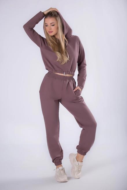 FLUO  bawełniany dres z bluzą typu crop top ze ściągaczem na dole M82351 Трикотажные брюки Фиолетовый оптом