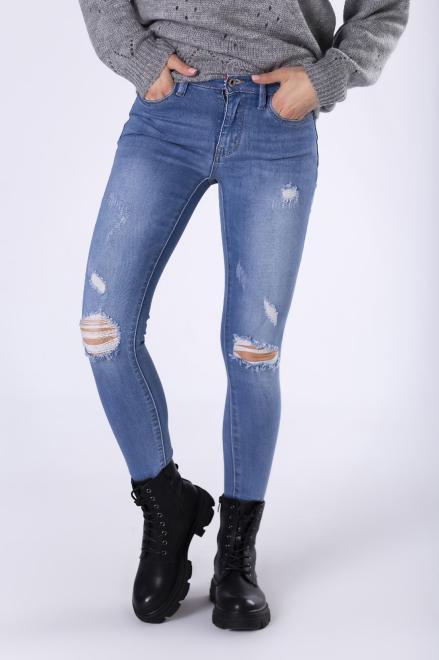 FLUO  jeansowe spodnie z przetarciami M75462 Брюки Голубой оптом