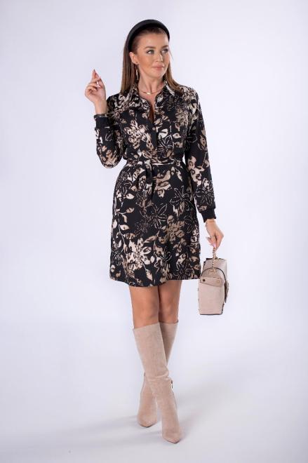 MALECKA  wzorzysta sukienka szmizjerka z wiązaniem w pasie M82356 Платье Черный оптом