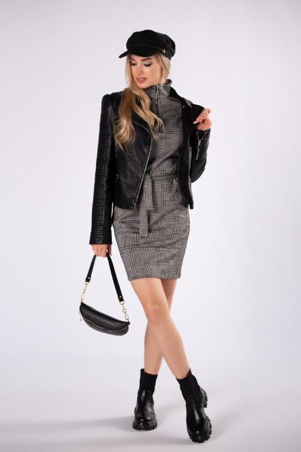 BODOO  dopasowana sukienka w kratkę z golfem, ekspresem na dekolcie i wiązaniem w pasie M82287 Платье Multikolor оптом