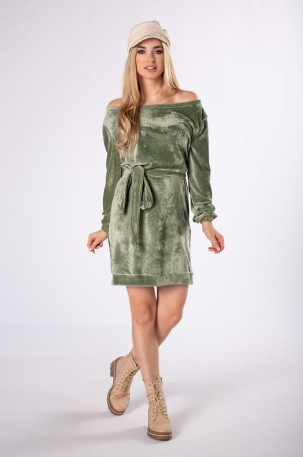 FLUO  welurowa sukienka z wiązaniem w pasie M82350 Платье Зеленый оптом