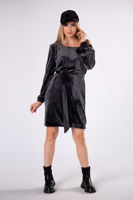 FLUO  welurowa sukienka z wiązaniem w pasie M82350 Платье Серый оптом