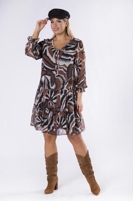 DAWO  szyfonowa sukienka z wiązaniem przy dekolcie i falbankami na dole M82452 Платье Multikolor оптом