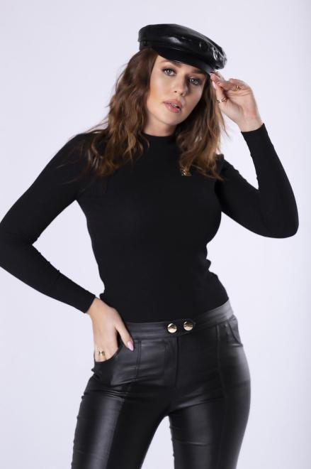 MALECKA  prążkowana bluzka z długimi rękawami  M82468 Блузка Черный оптом