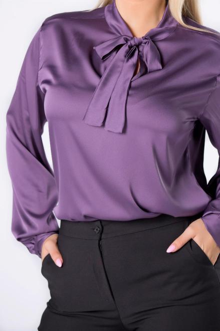 WAXIMA  satynowa koszula z wiązaniem przy szyi M82628 Блузка Фиолетовый оптом